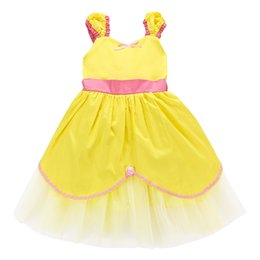halloween clothing for babies 2020 - DHL Kids Yellow Cosplay Costume Princess Dress Baby Gilrs Birthday Party Wedding Dresses For Halloween Christmas Ruffed