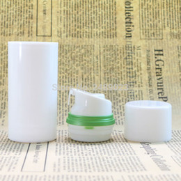 $enCountryForm.capitalKeyWord NZ - White Cap Empty Airless Pump Plastic Bottles Green Edge Emulsion Bottle Lotion On Travelling Cosmetic Packaging 100pcs lot