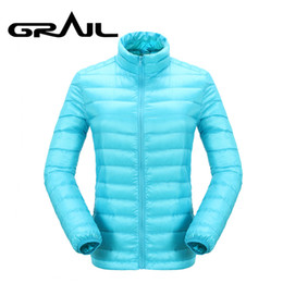 stand for weights 2019 - GRAIL Women Hiking Down Jacket Ultra Light Weight Thermal Warm Coat Acid Blue Stand Collar for Camping Hiking Snowboardi