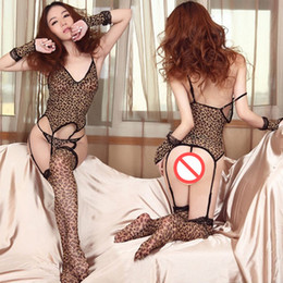 7aa3e3c2812e8 Sexy Lingerie Open Bra Sets Leopard Print Bra Underwear Deep V Neck  Babydoll Sleepwear Nightwear+ G-String +Stockings+Hand Cuff