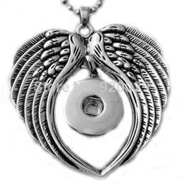 $enCountryForm.capitalKeyWord NZ - G00106 Snap Button Necklaces&Pendants Jewelry Angel Wing Statement Necklace Women Fit 18mm Rivca Snap Button Jewelry