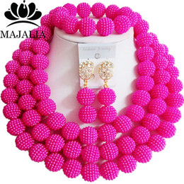 Pink African Beads Jewelry Set Australia - Fashion african jewelry Hot Pink Plastic nigerian wedding african beads jewelry set Free shipping Majalia-454