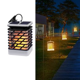 Wholesale Waterproof Solar Lights Outdoor LED Flickering Flame Torch Lights Lantern Hanging Decorative Atmosphere Lamp for Pathway Garden Deck Christm
