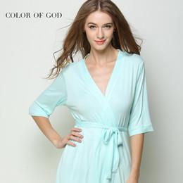 Fashion Women Night Dress Sexy Kimono Bathrobe Mid-sleeve Nightwear Robes  Female Babydoll Pijamas Soft Modal Nightie Home Wear abe6450e4