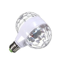 Ingrosso LMCO 6W E27 RGB sfera di cristallo girevole LED Stage Light Bulb Double Head per Club DJ Disco Party