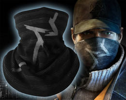 Discount dog bicycle - 3D Stripes Black Watch Dogs Aiden Pearce Scarf Balaclava Hat Bicycle Winter Neck Warmer Half Face Mask Headband Headwear