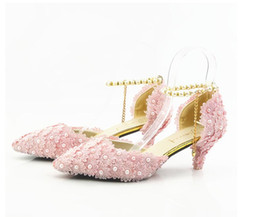 $enCountryForm.capitalKeyWord NZ - New large size, high heel crystal shoes, pink lace, pointy head, handmade women's shoes, wedding shoes, sandals, buckles, wedding shoes.