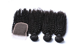 Closure Human Hair Wigs UK - Human Hair Pre-colored Malaysian Kinky Curly Wave with Nature Black Lace Closure 3 Bundles With Closure Wig