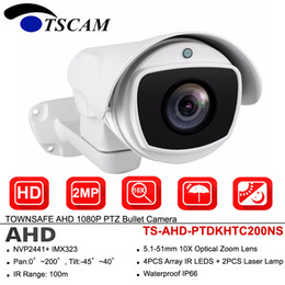 Wholesale Vandal Proof Cameras NZ - TSCAM ANALOG HD 2MP 1080P PTZ AHD Bullet Camera Pan Tilt 10X Optical Zoom Outdoor IP66 IR CCTV Security Surveillance Cam
