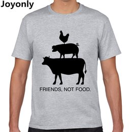 food t shirts Australia - Joyonly Vegan Shirt Vegetarian T Shirt Present Animal Lover Statement Tee Animal Friends Not Food Shirt Women Men T-Shirt TA-108