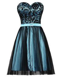 $enCountryForm.capitalKeyWord UK - 2018 Short Prom Dresses Lace Top Belt Sweetheart Neckline Mini Formal Evening Party Gown