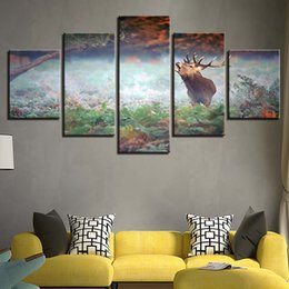 Canvas Prints Frame Australia - Canvas HD Printed Pictures Modern Wall Art Frame 5 Pieces Forest Animal Deer Painting Home Decor Modular Poster For Living Room