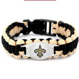 Discount paracord sports - Orleans Saints Bracelets & Bangles Sport American Football Team Umbrella Braided Paracord Bracelet For Fans Gifts 10pcs