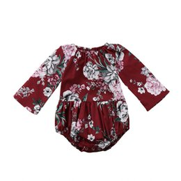 Chinese  Adorable Baby Kids Girls Cotton Floral Printed Long Sleeve Jumpsuit Romper Clothes Baby Clothing manufacturers