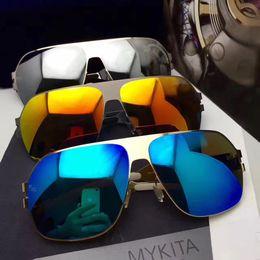 China Luxury Sunglasses Brand Designer Celebrity Hand Made Mirror Sunglasses Men&Women Gold Flash Pilot Aviator Sun Glasses suppliers