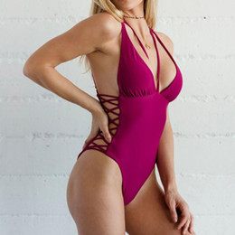 Discount sexy one piece swimwear triangle - 2018 New Bandage One Piece Swimsuit Women Swimwear Sexy High Cut Out Monokini Strappy Triangle Halter Bathing Suit Backl