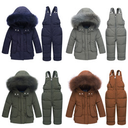China Children's Winter jackets -30 degrees Boys Coat Girls Ski Suit Baby Down Jacket+Pants Overalls Thick warm Kids clothes Snowsuit supplier kids warm down pants suppliers