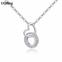 $enCountryForm.capitalKeyWord UK - 925 Sterling Silver Rhinestone Circle With Heart Pendant Necklaces Pure Sterling Silver Necklaces Jewelry Collar Colar de Plata