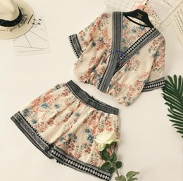 korean two piece dresses woman 2019 - Vintage Print Women 2 Pcs Sets Summer V-neck Blouse + Shorts Boho Suits Woman Casual Beach Holiday Korean Two Piece Set
