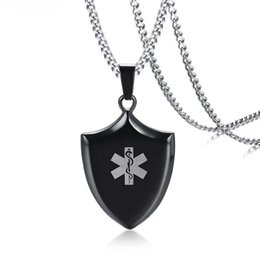 "medical alert jewelry UK - Black Medical Alert ID Pendant For Men Necklace Stainless Steel Personalized Shield Tag Male Statement Necklaces Jewelry 24"" Cuban Chain"