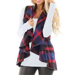 hooded wool winter coat womens UK - Autumn women plaid vest Long waistcoat winter Female warm wool turndown collar Jacket cloak Womens sleeveless cardigan Coat