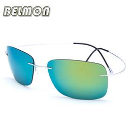 82303d3807ccb Memória pure titanium polarizada óculos de sol dos homens 2016 designer de  marca de luxo óculos de sol ultra-leve sem aro para oculos do sexo masculino  ...