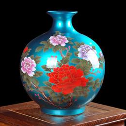 Discount crystal cabinets - Jingdezhen ceramics glaze crystal blossoming pomegranate flower vase of modern Chinese living TV cabinet decoration