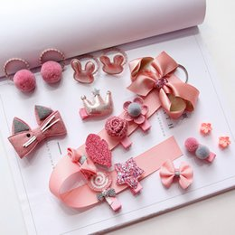 Hair Clips For Cute Girl NZ - Kids Set Cute Hairpins Headwear For Girls Hair Accessories Baby Hair Clips Baby Girl Party Head Wear Gift Box Photography Props
