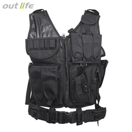 TacTical vesT green online shopping - Outlife Tactical Paintball Swat Assault Hunting Molle Vest with Holster Hunting Molle Vest With Holster Outdoor Camouflag