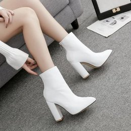 $enCountryForm.capitalKeyWord NZ - DIJIGIRLS fashionable white boots, high-heeled shoes, Martin boots, pointed 40 yards, thick and short thin women's shoes.