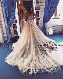 $enCountryForm.capitalKeyWord Australia - Blush Pink 3D Floral Feather Wedding Dresses 2019 A Line Vintage Lace Plus Size Arabic African Champagne Beach Vestido De Novia Bridal Gowns