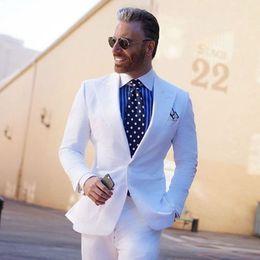 Ivory Linen Suit Canada - White Slim Fit Linen Men Suits 2018 Summer Wedding Groom Tuxedos 2 Pieces (Jacket+Pants) Bridegroom Groom Suits Best Man Blazer