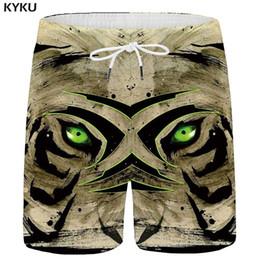 $enCountryForm.capitalKeyWord Australia - KYKU Tiger Shorts Men Animal Casual Shorts Beach Gothic Cargo 3d Printed Short Pants Vintage Mens Summer Popular New