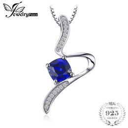 $enCountryForm.capitalKeyWord Australia - JewelryPalace Stylish 1.4ct Cushion Created Sapphire Pendant Necklace For Woman Pure 925 Sterling Silver Jewelry 45cm Box ChainY1882503