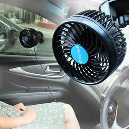 Discount 12v gear - 12V Mini Electric Car Fan Low Noise Car Air Conditioner 360 Degree Rotating Non-polar Gears Adjustable Fan Air Cooling