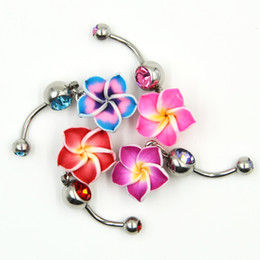 surgical body gems NZ - 1Pc Surgical Steel Trendy Flower CZ Gem Crystal Navel Belly Button Ring Piercing Body Jewelry Fashion Dangling