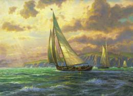 $enCountryForm.capitalKeyWord NZ - Thomas Kinkade Landscape Oil Painting Seascape sailing art Reproduction Art Giclee Print On Canvas Modern Home Art Decoration JH41