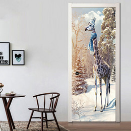 giraffe decorations NZ - 77x200cm Creative Animal Giraffe Door Home Decoration Stickers Corridor Wallpaper Poster Bedroom Living Room Removable Waterproof Decal Art