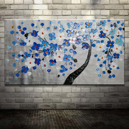 blue floral canvas wall art NZ - Hand Painted Abstract Palette Knife Flower Tree Oil Painting on Canvas Blue Floral Landscape Modern Home Decor Wall Pictures Painting Art