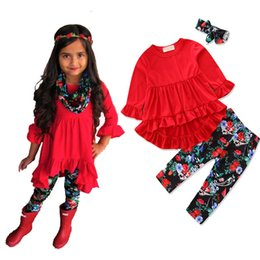 Floral Print Shirts Baby Australia - Baby Girls Clothes Pure Red Cotton Irregular T-shirt+casual Floral Print Pants+headband 3pcs Suit Kids Clothes Toddler Clothing