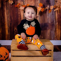 Owl shirt set online shopping - Baby Holloween clothing set kids pumpkin outfits printed T shirt owls ghost printing pants cute T infants long sleeve pumpkin suit