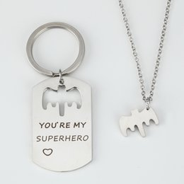 superhero keychains Canada - Stainless Steel Keychain Jewelry Letter Lettering YOU` RE MY SUPERHERO  Keychain For Men Women Accessories