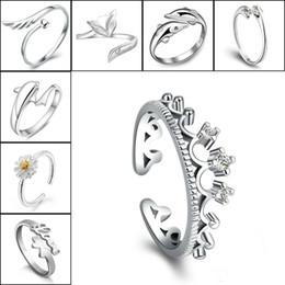 horse wings 2019 - 925 Sterling Silver Rings For Crown Dolphins Dragonfly Horse Wing Fox Heart Forever Love Adjustable Finger Ring Women We