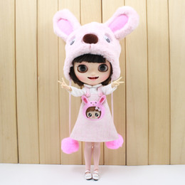 Discount clothes for bears - free shipping for blyth doll icy licca cute clothes pink dog set bear suit bag stocking hat lovely 1 6 30cm