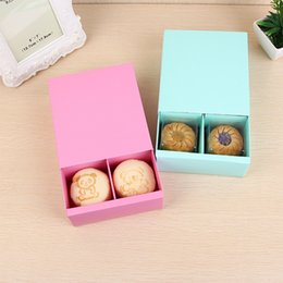 Discount mooncake package boxes - Candy Color 4 Grid Macaron Box Pastry Box for Biscuits Cookie Mooncake Packaging Paper Gift Boxes