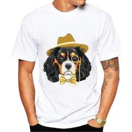 2018 New Big ear dog con cappello Stampa T-shirt Moda uomo T-shirt Top Abiti Accessori uomo in Offerta