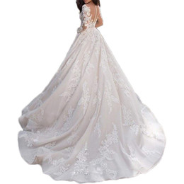 $enCountryForm.capitalKeyWord UK - Women's Flower Chapel Bridal Gown Glamours Hollow Out wedding gowns for bride Halter Wedding Gown with Sleeves trouwjurk 2019