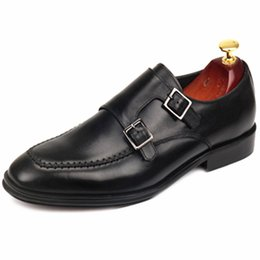 double strap shoes UK - 2019 Men Dress shoes Monk shoes Men's shoes Custom handmade shoe Genuine calf leather Color brown double buckles strap
