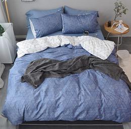 Bedsheet Cotton White Australia - Geometric double bedding set adult teen kid man boy,full queen king cotton blue grey bedclothes pillow case bedsheet quilt cover