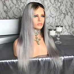 black grey ombre human hair wig Australia - Hair Straight Ombre Color Wig 1B Grey Full Lace Human Hair Wig with Dark Black Roots 100% Brazilian Remy Hair Wig